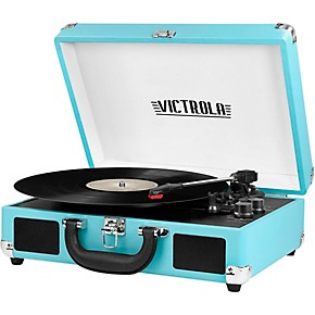 victrola bluetooth portable suitcase record player turquoise guitar center. Black Bedroom Furniture Sets. Home Design Ideas