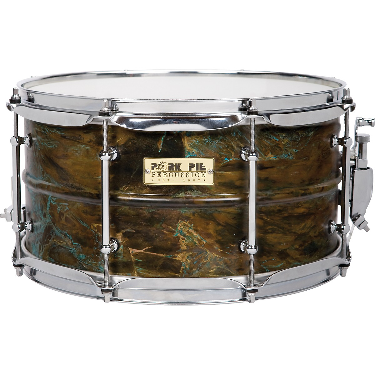 Pork Pie Brass Patina Snare Drum