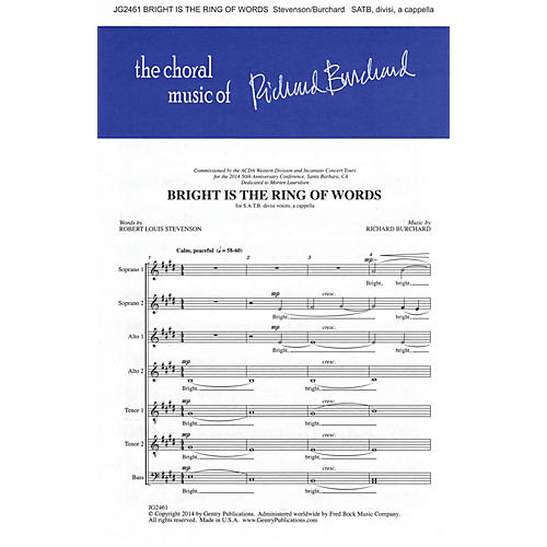 Gentry Publications Bright Is the Ring of Words SSAATTBB A Cappella composed by Richard Burchard