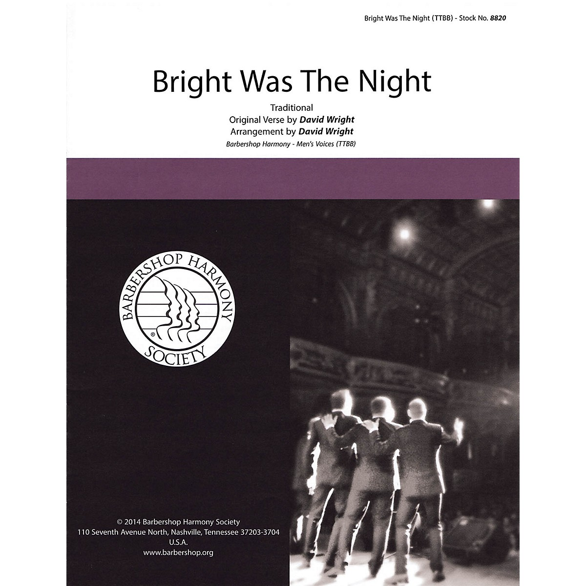 Hal Leonard Bright Was the Night TTBB A Cappella arranged by David Wright