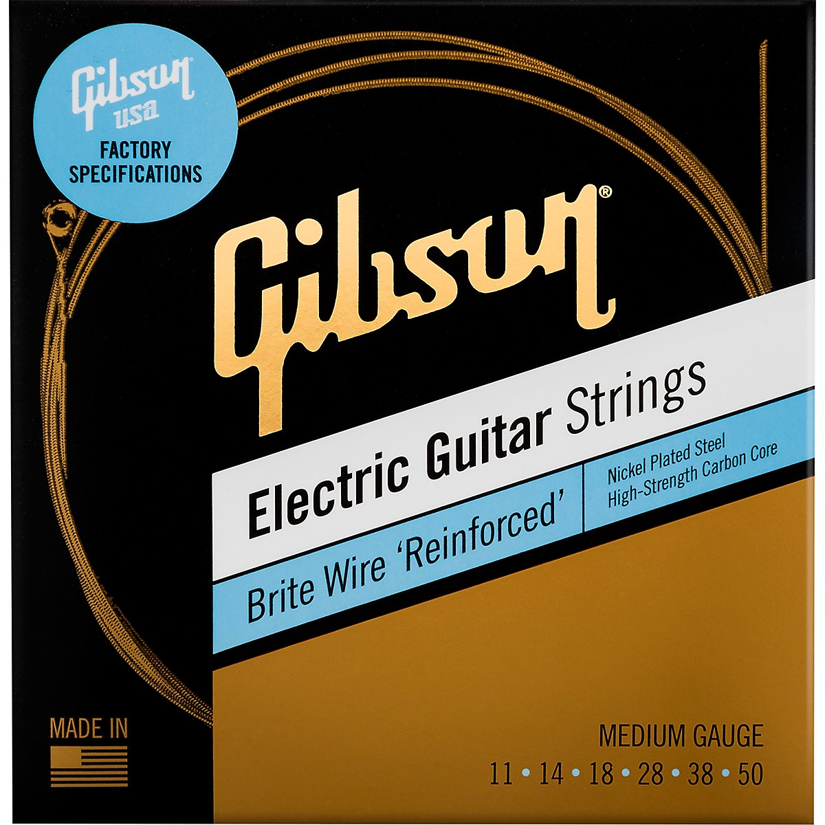 Gibson Brite Wire 'Reinforced' Electric Guitar Strings, Medium Gauge