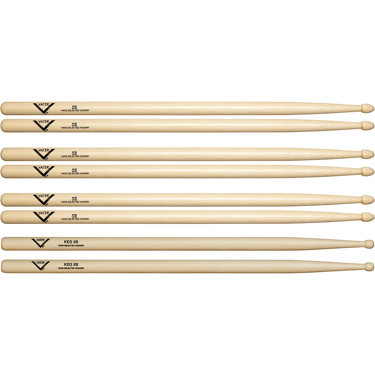 Vater Buy 3 5B Wood Drumsticks, Get 1 Free KEG 5B