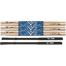 Vater Buy 3 Pair 5A Wood Tip Sticks get Free Whip