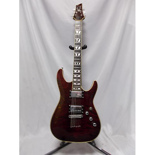 used schecter guitar research c 1 custom solid body electric guitar translucent dark cherry. Black Bedroom Furniture Sets. Home Design Ideas