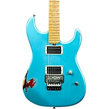 Cali Aged Electric Guitar Double Burst Metallic Blue over 3 Tone Burst
