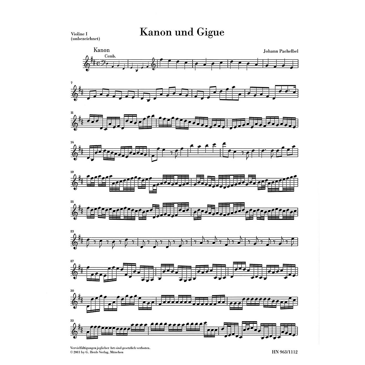 G. Henle Verlag Canon and Gigue for Three Violins and Basso Continuo in D Maj Henle Music by Pachelbel Edited Mullemann