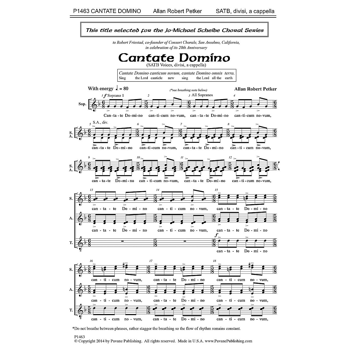 Pavane Cantate Domino SATB a cappella composed by Allan Robert Petker