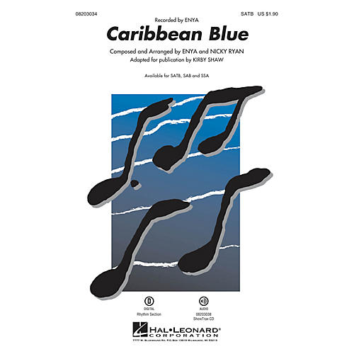 Hal Leonard Caribbean Blue SATB by Enya arranged by Kirby Shaw