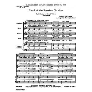 G. Schirmer Carol of Russian Chldren 8-Part with Organ Accompaniment SATB... by G. Schirmer