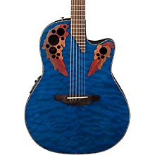 Celebrity Elite Plus Acoustic-Electric Guitar Quilted Maple Trans Blue