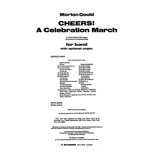 G. Schirmer Cheers! A Celebration March (Score and Parts) Concert Band Level 4-5 Composed by Morton Gould