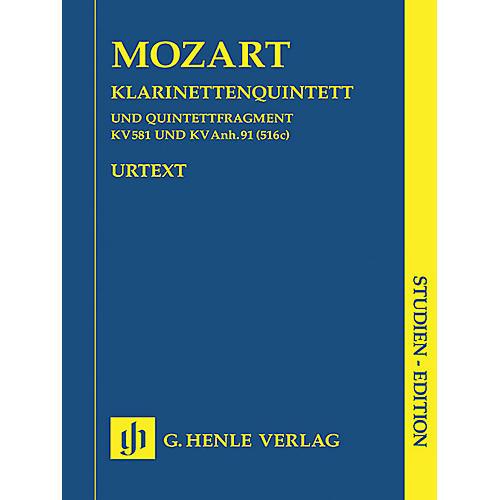 G. Henle Verlag Clarinet Quintet A Major K581 and Fragment K.Anh. 91 (516c) Henle Study Scores by Mozart