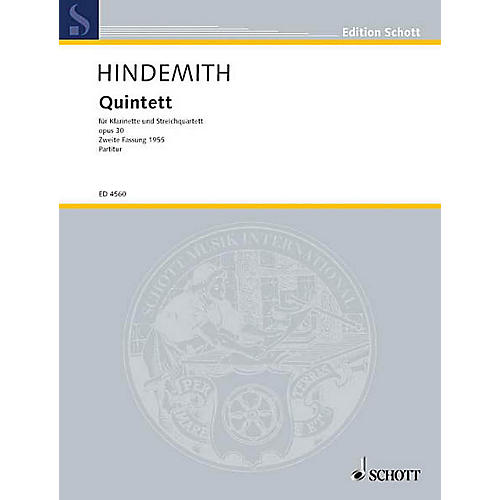 Schott Clarinet Quintet Op. 30 (Study Score) Schott Series Composed by Paul Hindemith
