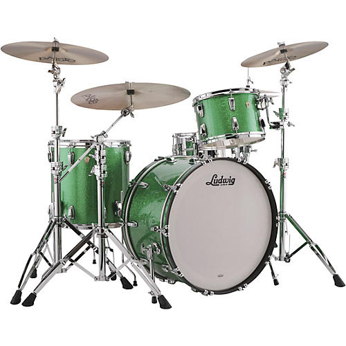 ludwig classic maple 3 piece pro beat shell pack with 24 in bass drum green sparkle guitar center. Black Bedroom Furniture Sets. Home Design Ideas