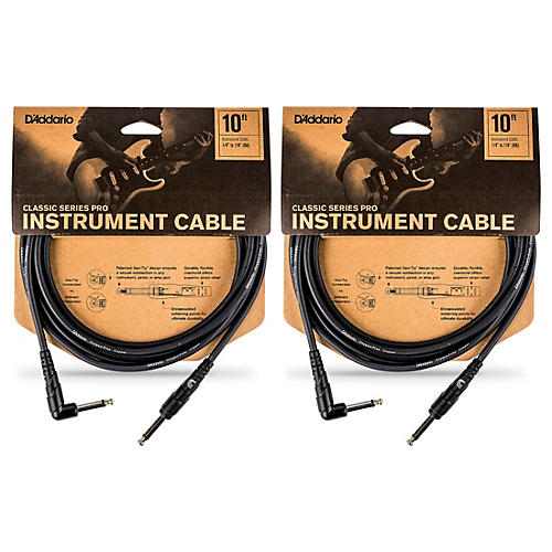 D'Addario Classic Pro Series Instrument Cable, Right Angle Plug -10 ft. - 2-Pack