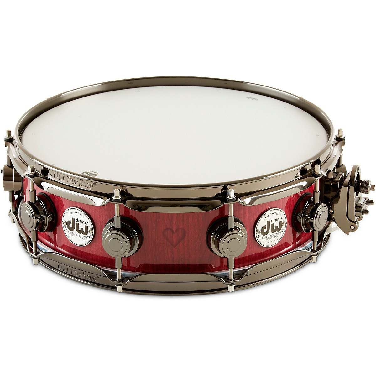 DW Collector's Exotic Purpleheart With Heart Graphic Snare Drum, Black Nickel Hardware