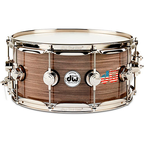 DW Collector's Series American Flag Logo Snare Drum with Nickel Hardware