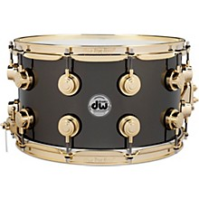 Collector's Series Black Nickel Over Brass Metal Snare Drum 14 x 8 in. Black Nickel Over Brass with Gold Hardware