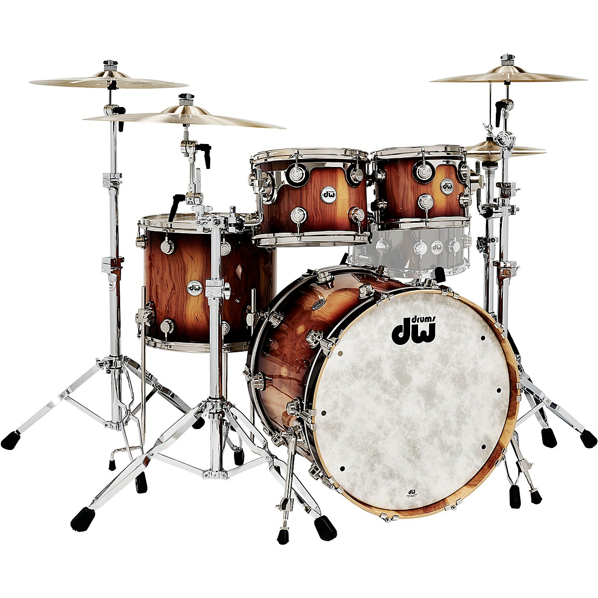 DW Collector's Series Pure Almond 4-Piece Shell Pack with Nickel Hardware, Toasted Almond Burst