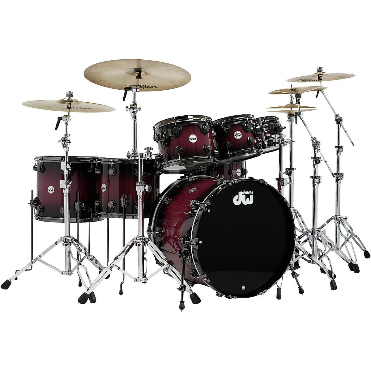 DW Collector's Series Purpleheart 7-Piece Lacquer Specialty Shell Pack Natural to Black Burst with Black Nickel Hardware