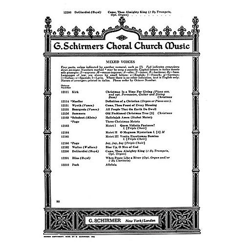 G. Schirmer Come Thou Almighty King (SATB with organ and 2 trumpets) SATB composed by Felice De Giardini