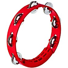 Compact ABS Plastic Handheld Tambourine 8 in. Red