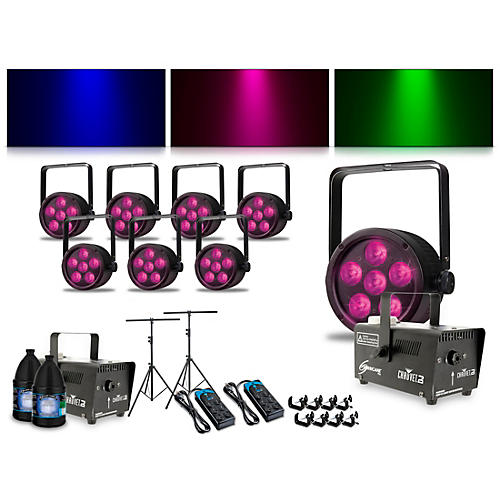 Proline Complete Lighting Package with Eight ThinTri 38 and Two Huricane 700 Fog Machines