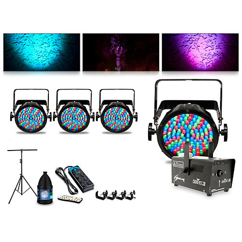 CHAUVET DJ Complete Lighting Package with Four Slim Par 56, Huricane 700 Fog Machines and IRC6 Remote Control