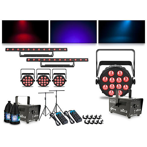 CHAUVET DJ Complete Lighting Package with Four SlimPAR Q12 BT, Two ColorBAND T3 BT and Two Hurricane 700 Fog Machines