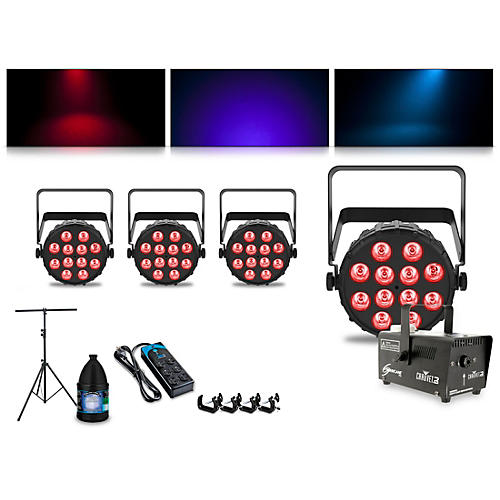 CHAUVET DJ Complete Lighting Package with Four SlimPAR T12 BT and Hurricane 700 Fog Machine