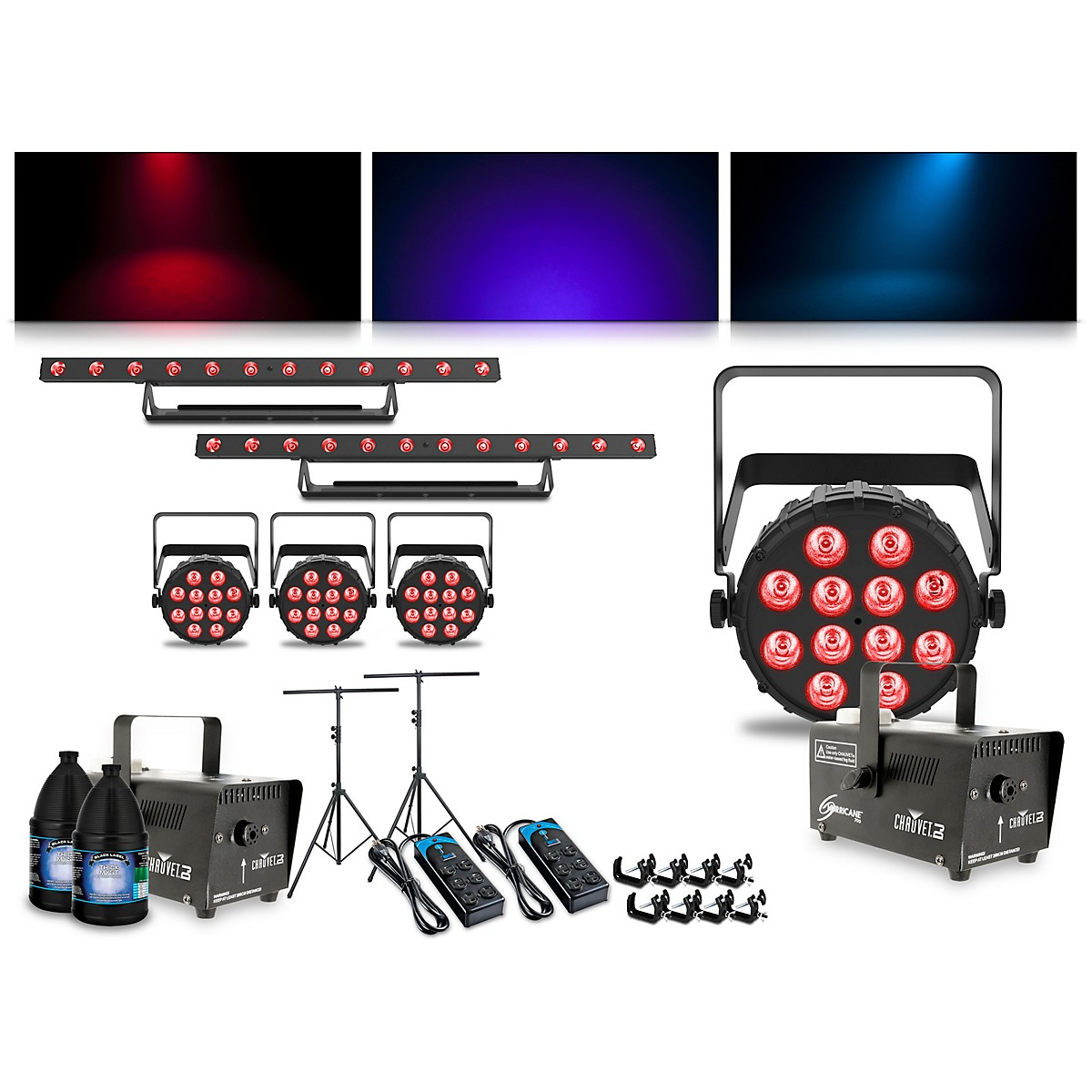 CHAUVET DJ Complete Lighting Package with SlimPAR T12 BT, ColorBAND T3 BT and Hurricane 700 Fog Machine