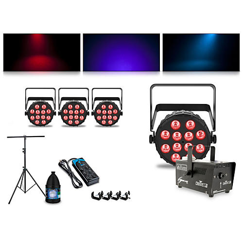 CHAUVET DJ Complete Lighting Package with Two SlimPAR T12 BT, Two SlimPAR Q12 BT and Hurricane 700 Fog Machine