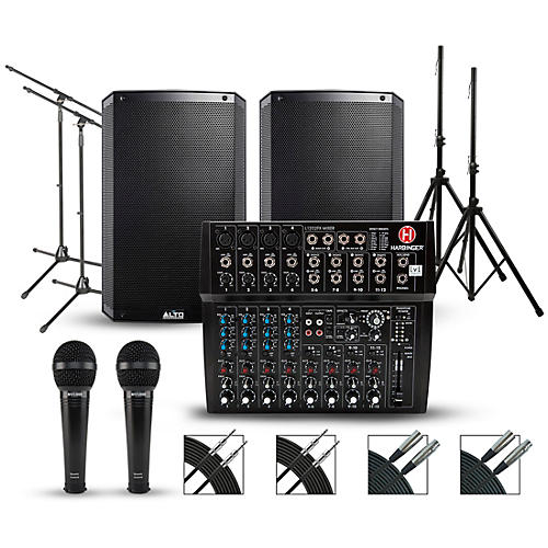 Harbinger Complete PA Package with Harbinger L1202FX 12-channel Mixer and Alto Truesonic 2 Series Active Speakers