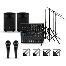 Harbinger Complete PA Package with L1202 Mixer and Mackie Thump Speakers