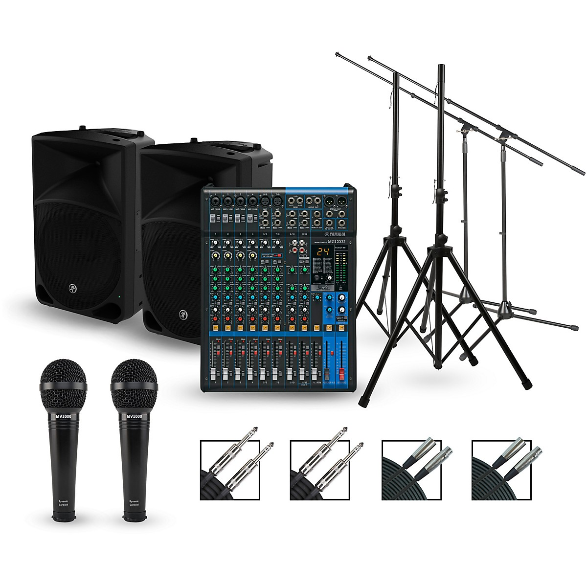 Yamaha Complete Pa Package With Mg12xu Mixer And Mackie