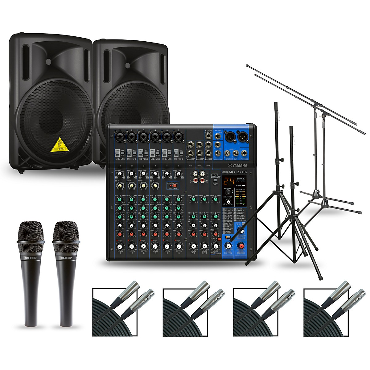 Yamaha Complete PA Package with MG12XUK Mixer and Behringer Eurolive BD Speakers