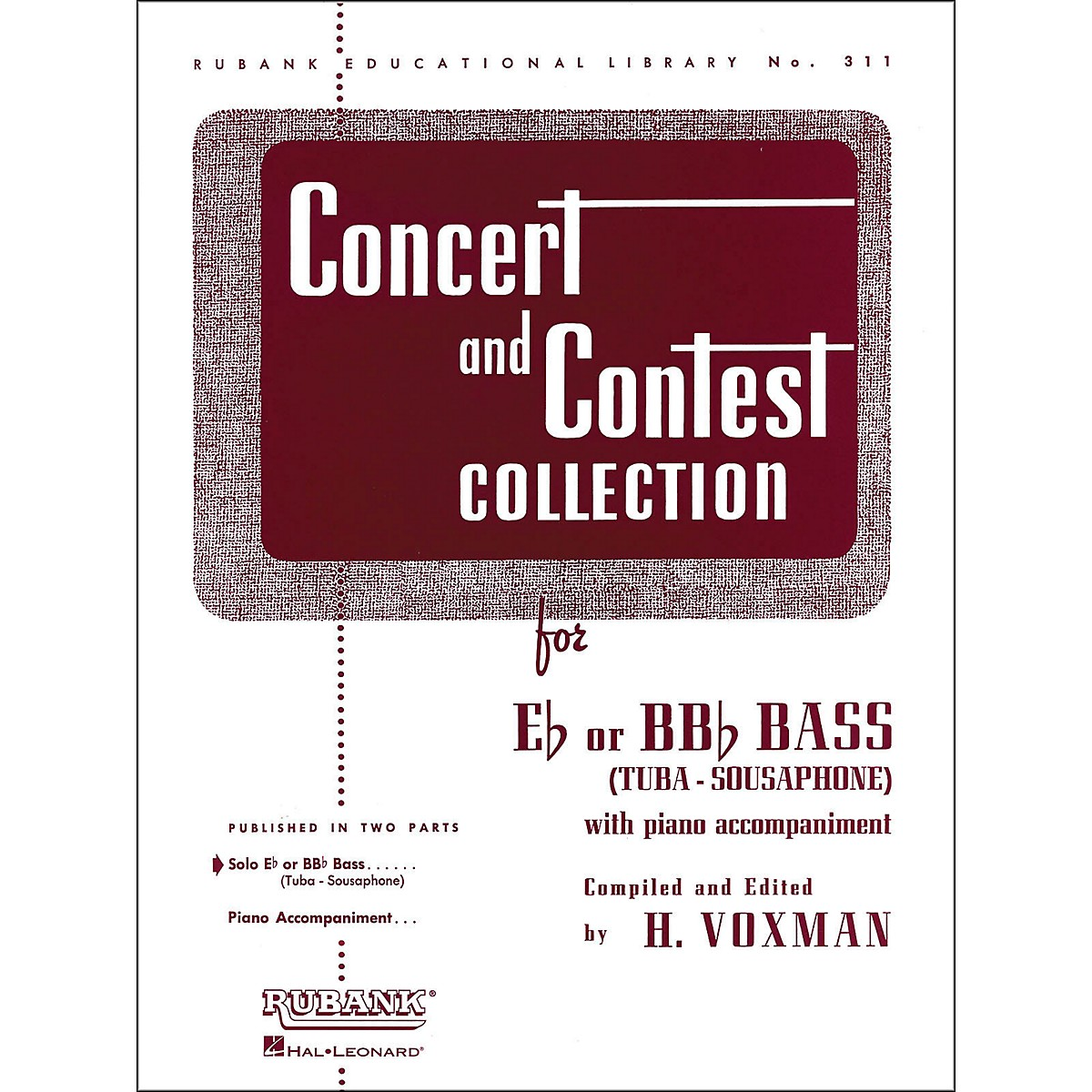 Hal Leonard Concert And Contest Collection for E Flat Or Bb Flat Bass Tuba Solo Part Only