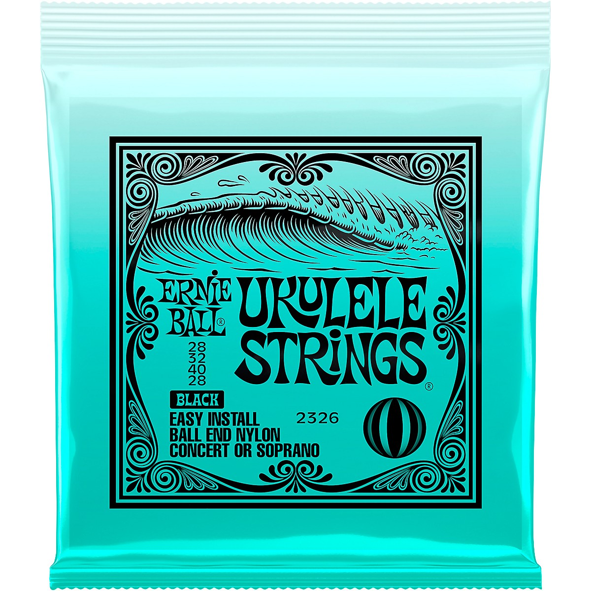 Ernie Ball Concert/Soprano Nylon Ball-End Ukulele Strings - Black