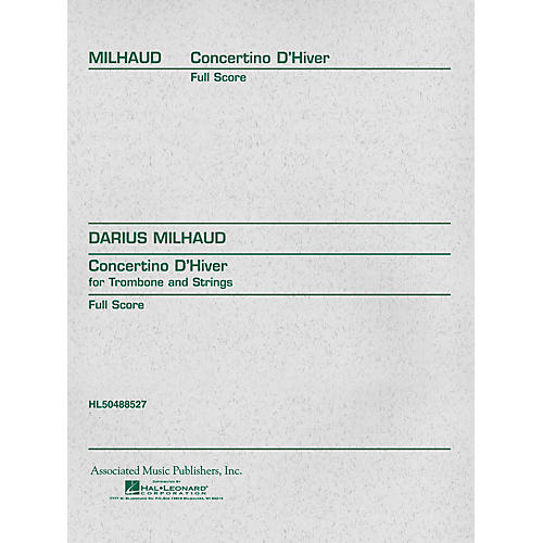 Associated Concertino d'Hiver (Full Score) Study Score Series Composed by Darius Milhaud