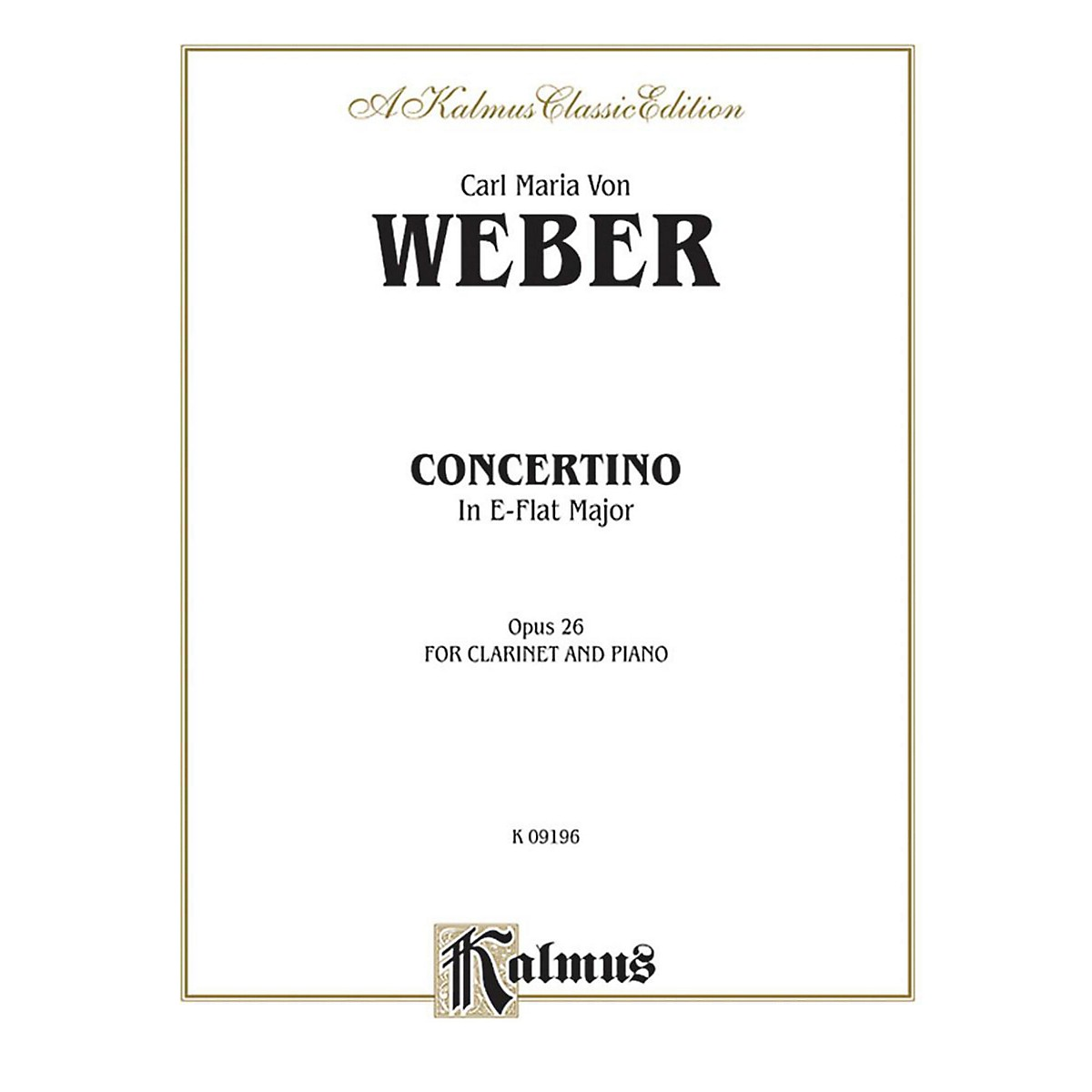 Alfred Concertino for Clarinet in E-Flat Major Op. 26 for Clarinet By Carl Maria von Weber Book
