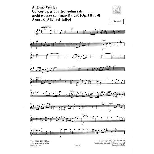 Ricordi Concerto E Minor, RV 550, Op. III, No. 4 String Orchestra Series Softcover Composed by Antonio Vivaldi