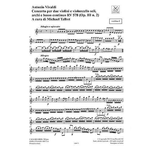 Ricordi Concerto G Minor, RV 578, Op. III, No. 2 String Orchestra Series Softcover Composed by Antonio Vivaldi