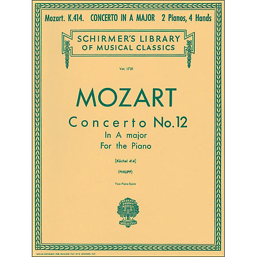 G. Schirmer Concerto No 12 A Major K414 2 Pianos 4 Hands Score By Mozart