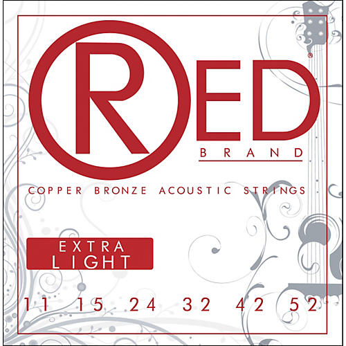 Red Strings Copper Bronze Acoustic Guitar Strings - Extra Light