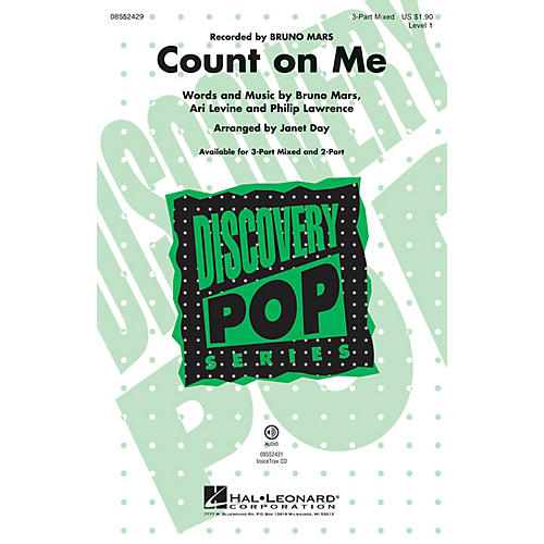 Hal Leonard Count on Me (Discovery Level 1) 2-Part by Bruno Mars Arranged by Janet Day