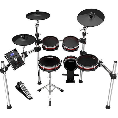 alesis crimson electronic 5 piece drum kit with mesh heads guitar