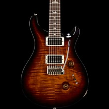 Custom 24 Carved Figured Maple Top with Gen 3 Tremolo Solid Body Electric Guitar Black Gold Burst