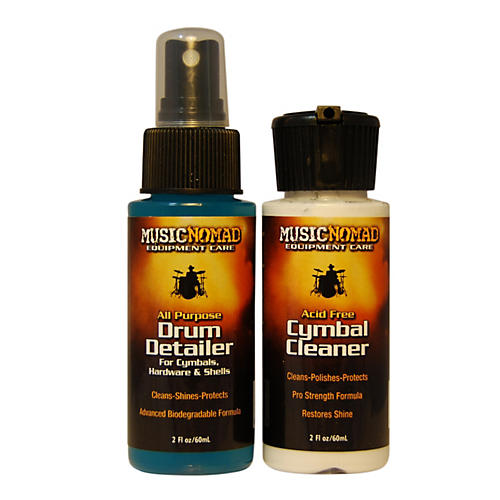Music Nomad Cymbal Cleaner and Drum Detailer Combo Pack (2 oz.)