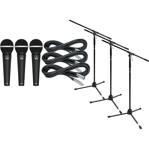 AKG D4400 Mic Three Pack With Cables & Stands