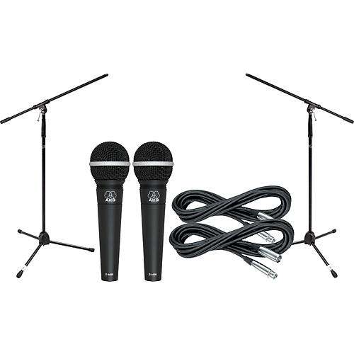 AKG D4400 Mic Two Pack With Cables & Stands